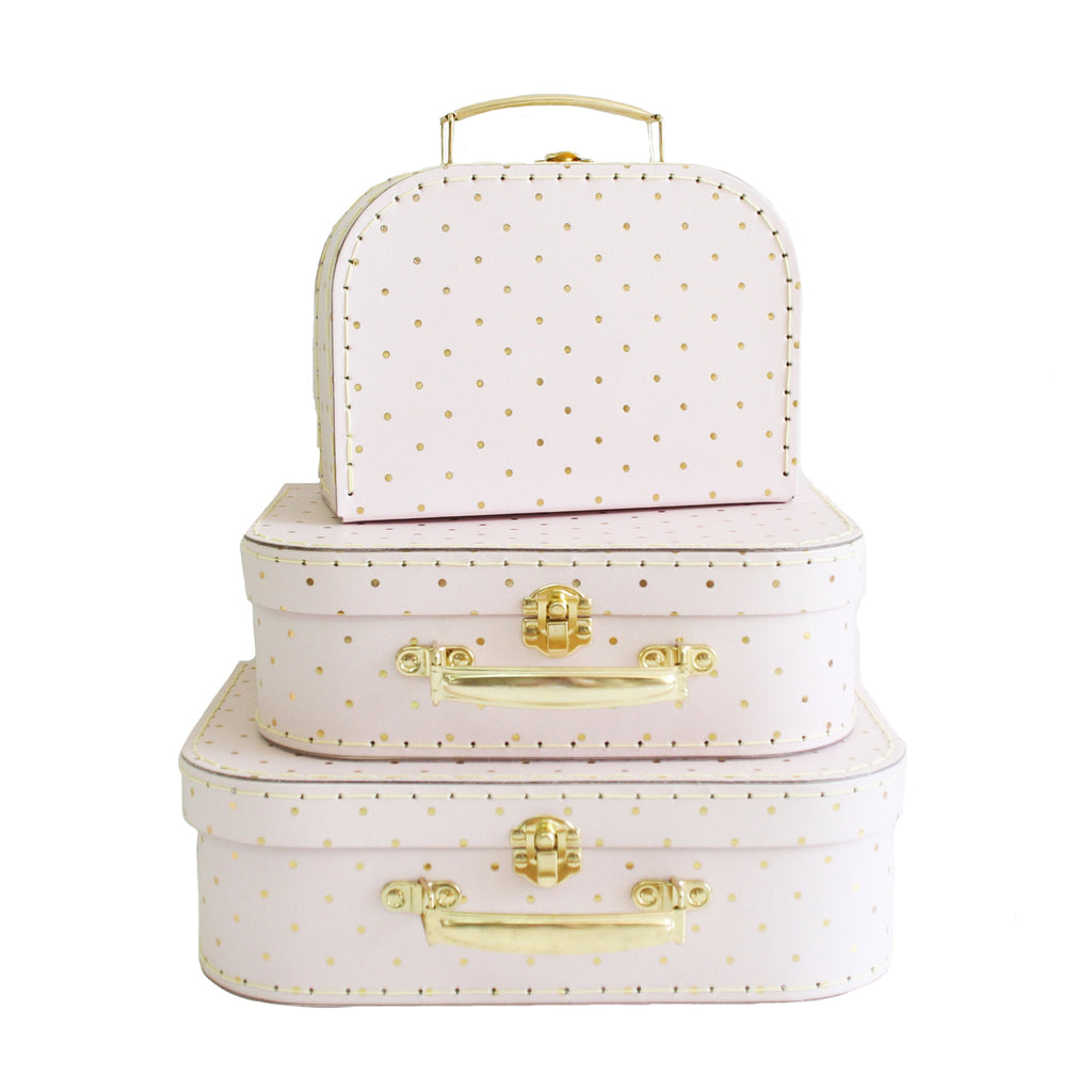 Kids Carry Suitcase Set - Pink & Gold Spot - Petit Luxe Bebe