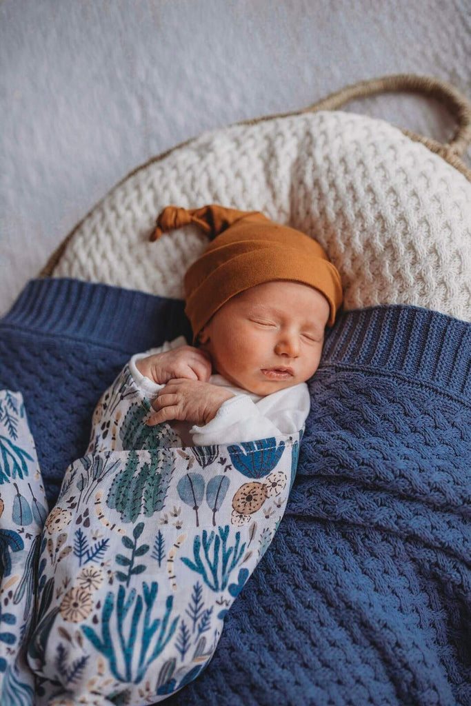Bronze Knotted Baby Beanie - Petit Luxe Bebe