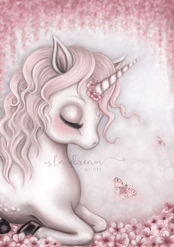 Aubrey The Unicorn Children's Art Print - Petit Luxe Bebe