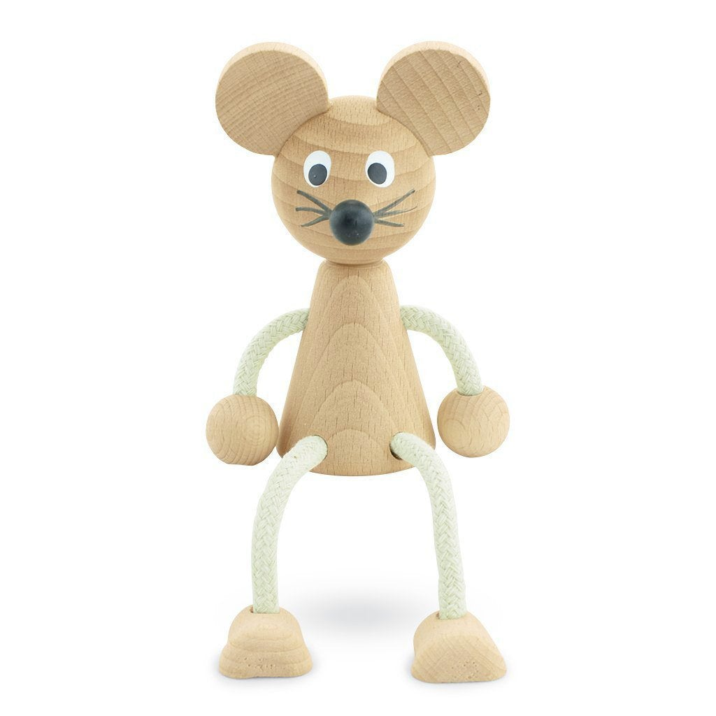 Bentley - Wooden Sitting Mouse Toy - Petit Luxe Bebe