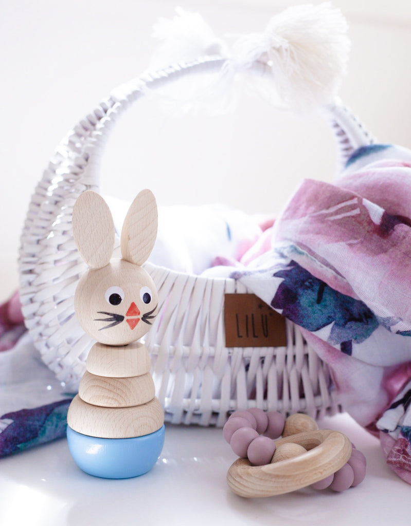 Bobby - Wooden Stacking Bunny Puzzle - Petit Luxe Bebe