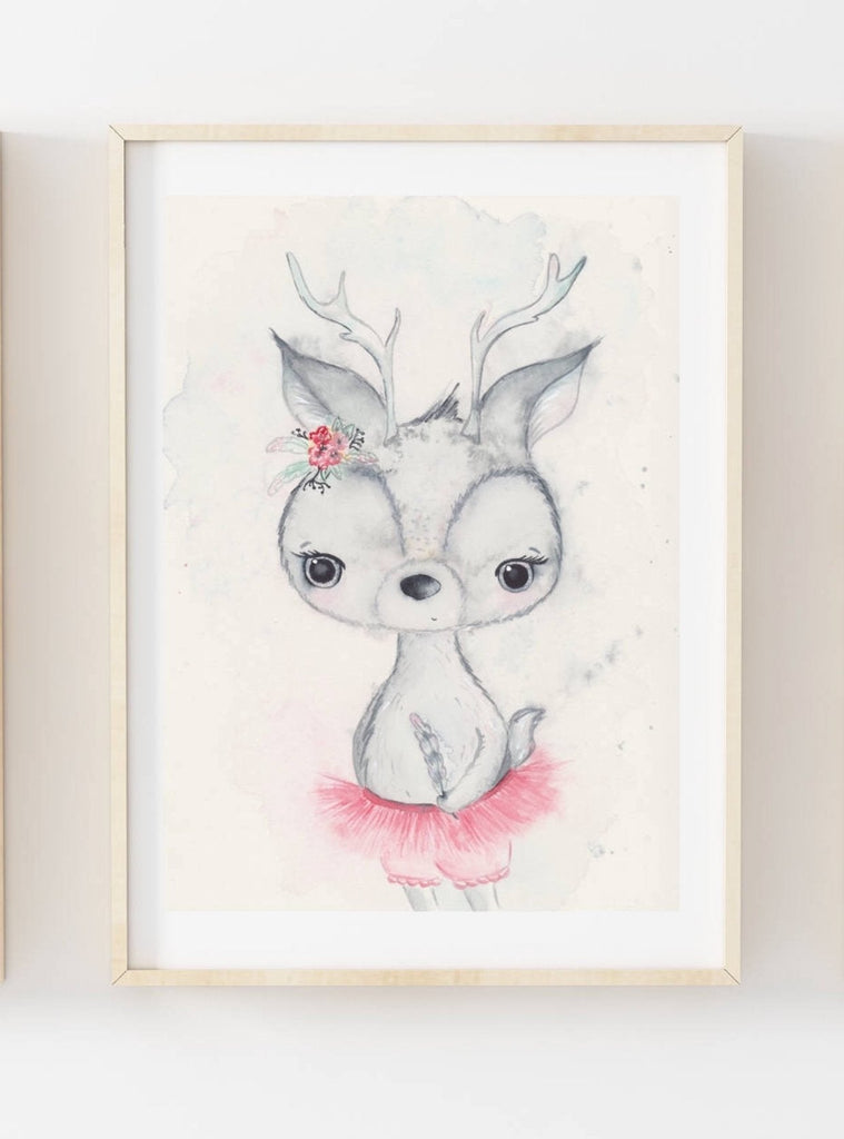 Nursery Decor Wall Art Print - Boho Deer - Petit Luxe Bebe