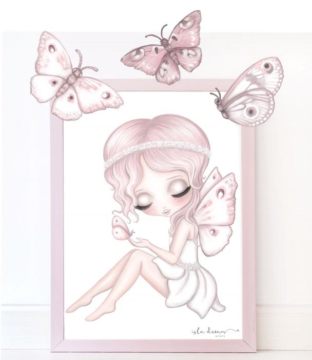 Grace the Butterfly Fairy Children's Whimsical Art Print - Petit Luxe Bebe