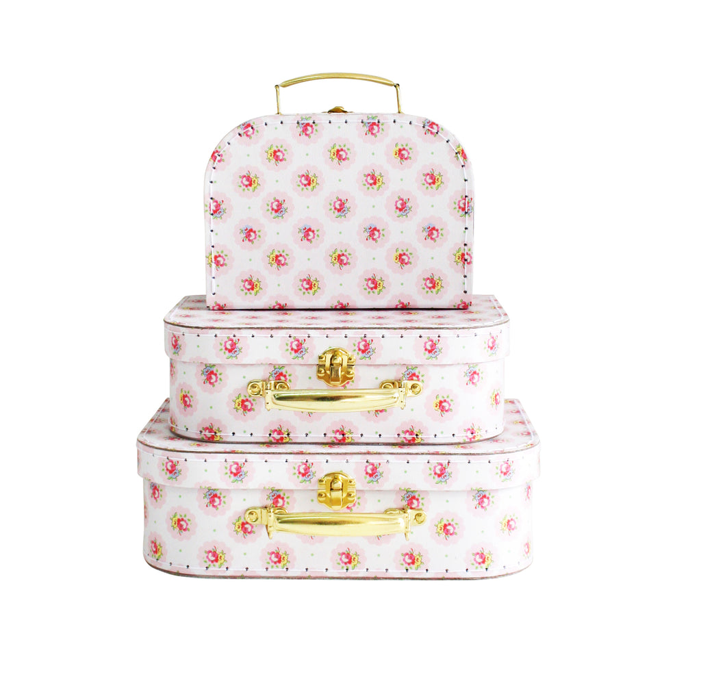 Kids Carry Suitcase Set - Floral Medallion - Petit Luxe Bebe