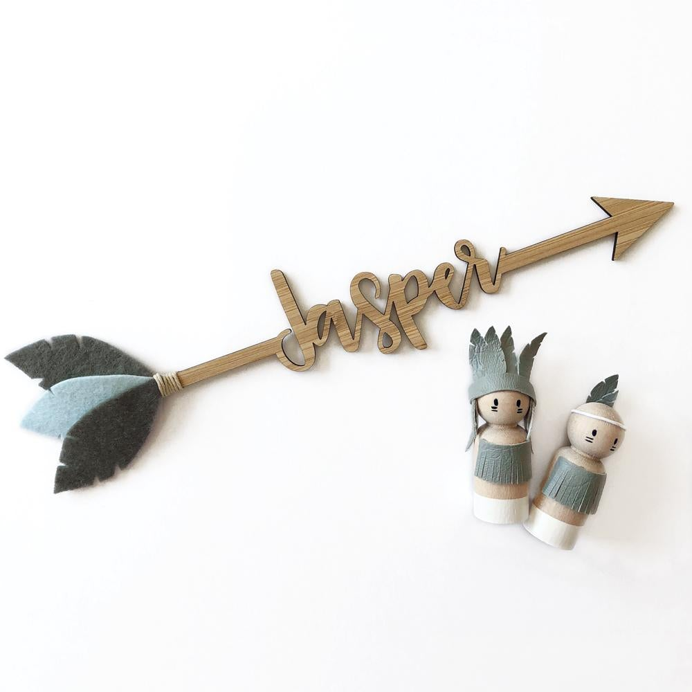 Custom Bamboo Arrow with Name | Personalised Nursery Wall Art - Petit Luxe Bebe