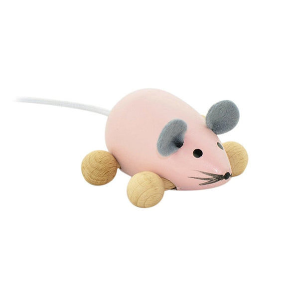 Daphne - Pink Wooden Push Along Mouse Toy
