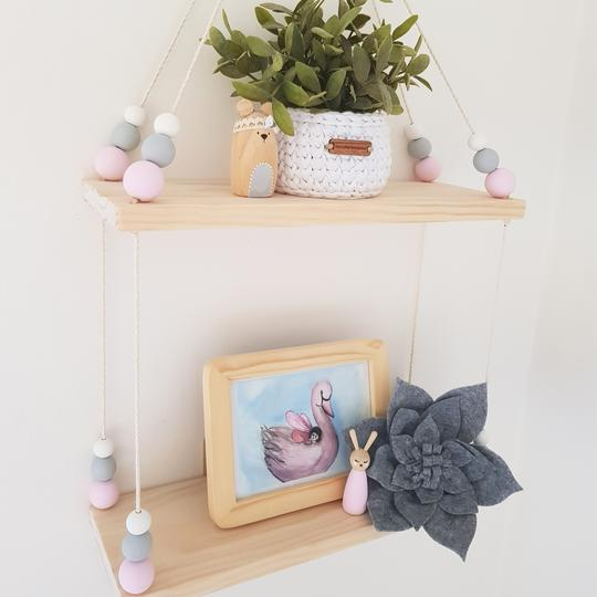 Double Wooden Storage Swing Shelf - Petit Luxe Bebe