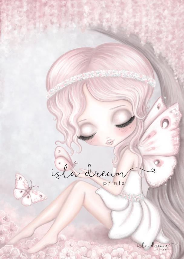 Grace the Butterfly Fairy with Full Background Children's Whimsical Art Print - Petit Luxe Bebe