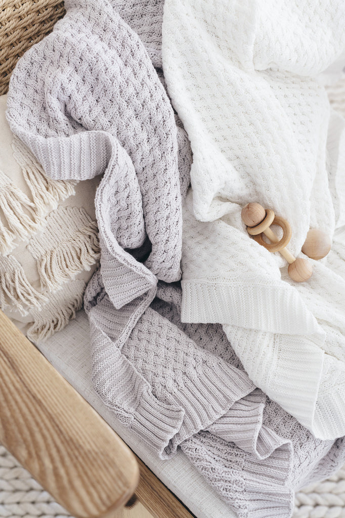 Warm Grey | Knitted Baby Blanket - Petit Luxe Bebe