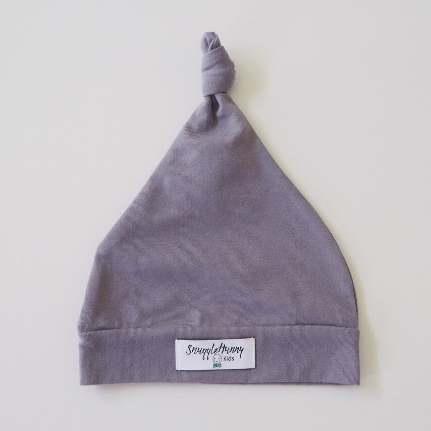 Grey Knotted Baby Beanie - Petit Luxe Bebe