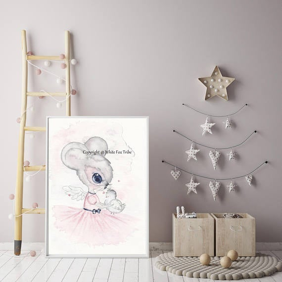 Nursery Decor Wall Art Print - Harper The Mouse - Petit Luxe Bebe