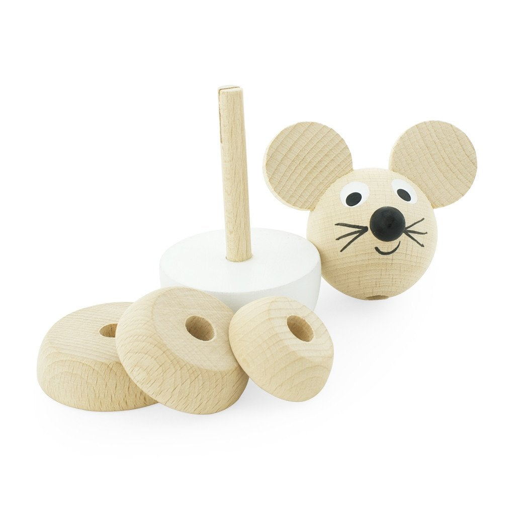 Hobbs - Wooden Stacking Mouse Puzzle - Petit Luxe Bebe