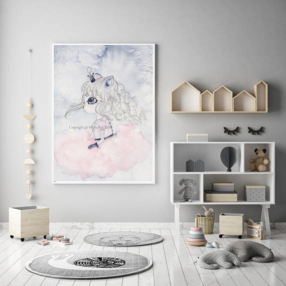 Nursery Decor, Whimsical Wall Art Print - Star Girl