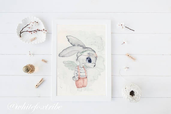 Nursery Decor, Whimsical Art Print - Hugo - Petit Luxe Bebe