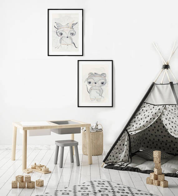 Nursery Decor Wall Art Print - Boho Fox - Petit Luxe Bebe