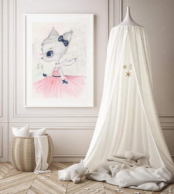Nursery Decor, Whimsical Wall Art Print - Mia