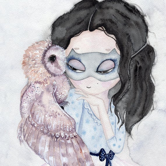 Nursery Decor, Whimsical Wall Art Print - A Lady and an Owl - Petit Luxe Bebe