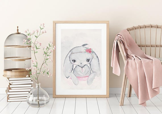 Nursery Decor Wall Art Print - Woodland Bunny