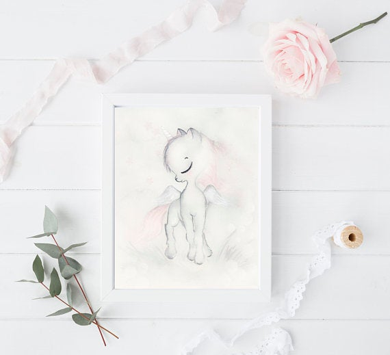 Nursery Decor Wall Art Print - Whimsical Unicorn - Petit Luxe Bebe