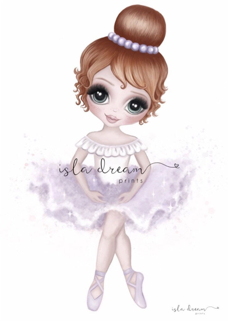 Ruby The Ballerina {LILAC} Children's Art Print - Petit Luxe Bebe