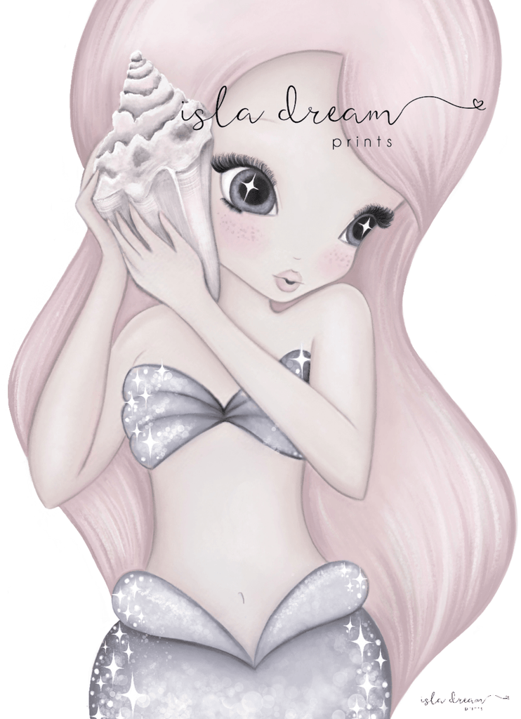 Coral The Mermaid - Children's Art Print - Petit Luxe Bebe