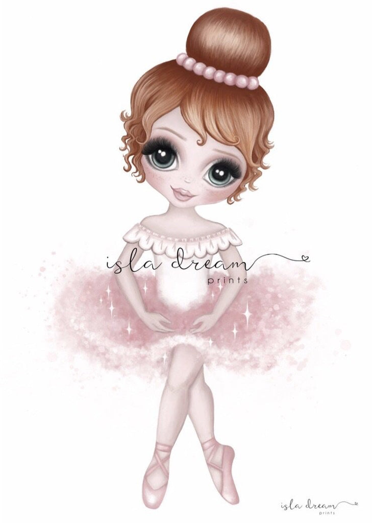 Ruby The Ballerina {PINK} Children's Art Print - Petit Luxe Bebe