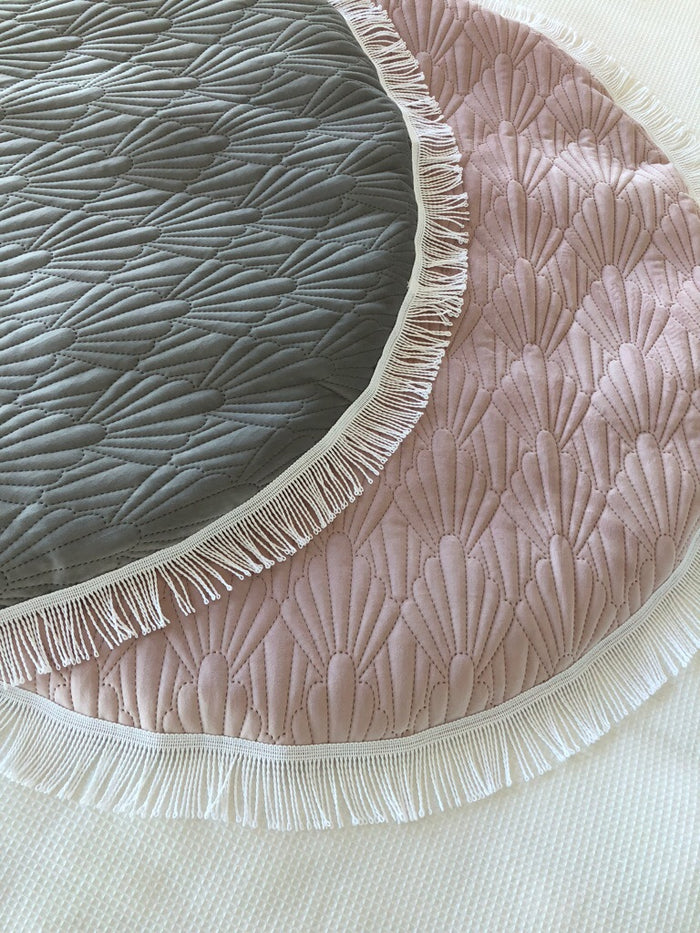 Luxe Quilted Velvet Tassel Baby Playmat - Dusty Pink, Sage or Grey