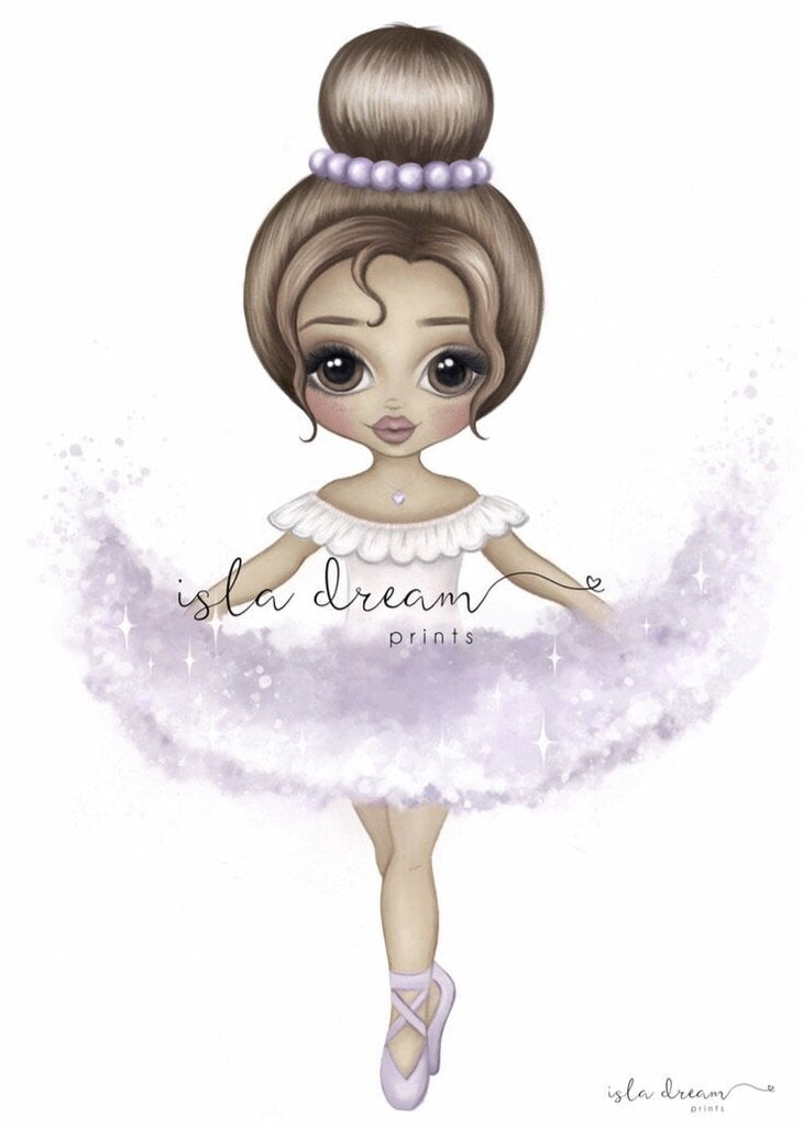 Ariana The Ballerina {LILAC} Children's Art Print - Petit Luxe Bebe