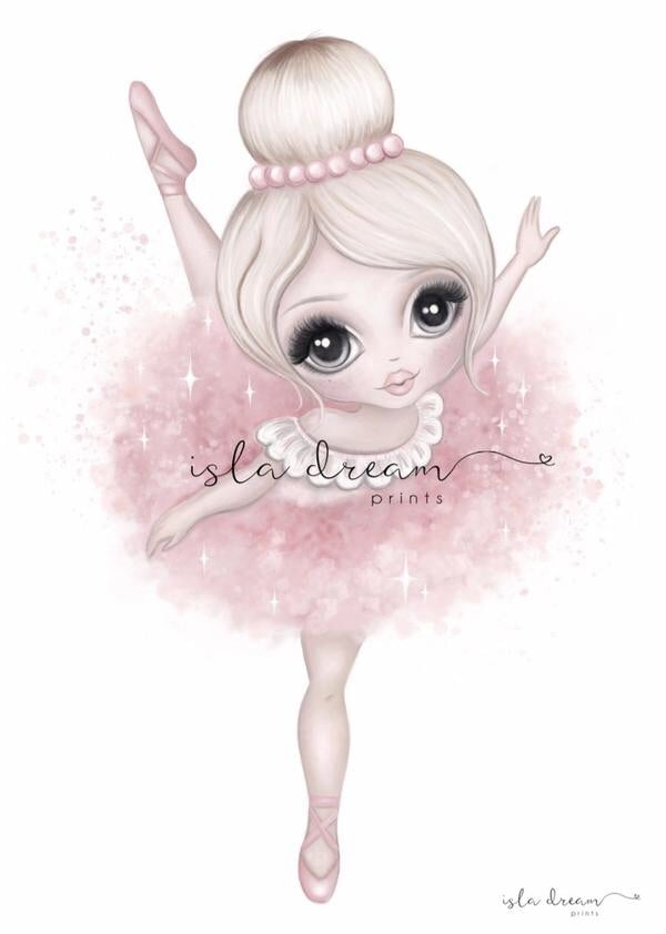 Bella The Ballerina {PINK} Children's Art Print - Petit Luxe Bebe