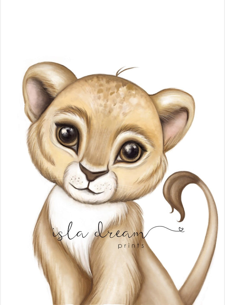 Zeus The Lion Cub - Jungle Theme Art Print - Petit Luxe Bebe