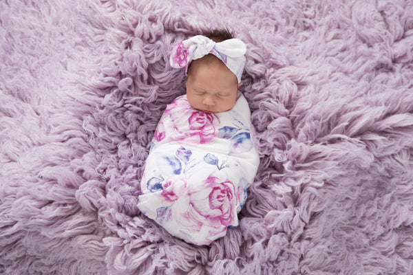 Lilac Skies Baby Jersery Wrap & Top Knot Headband Set