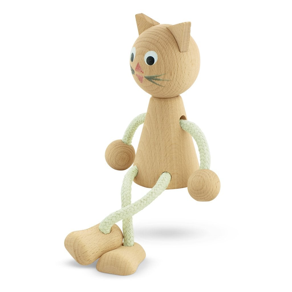 Lucy - Wooden Sitting Cat Toy - Petit Luxe Bebe