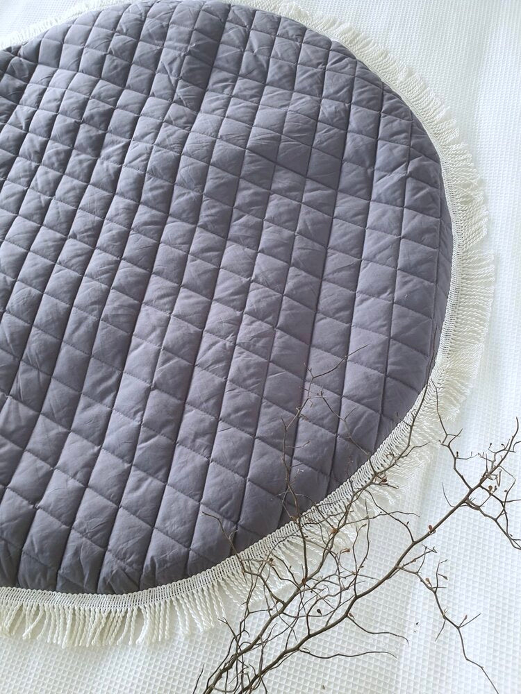 Luxe Diamond Quilted Tassel Baby Playmat | White or Charcoal - Petit Luxe Bebe