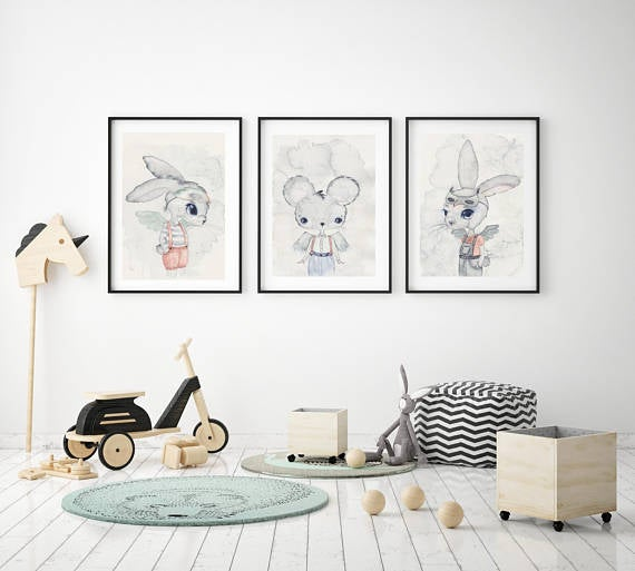 Nursery Decor, Whimsical Wall Art Print - Manuel - Petit Luxe Bebe