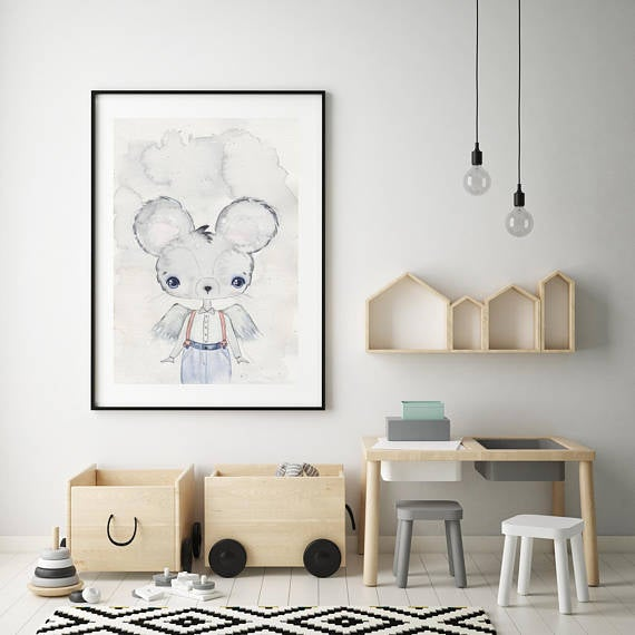 Nursery Decor, Whimsical Wall Art Print - Manuel