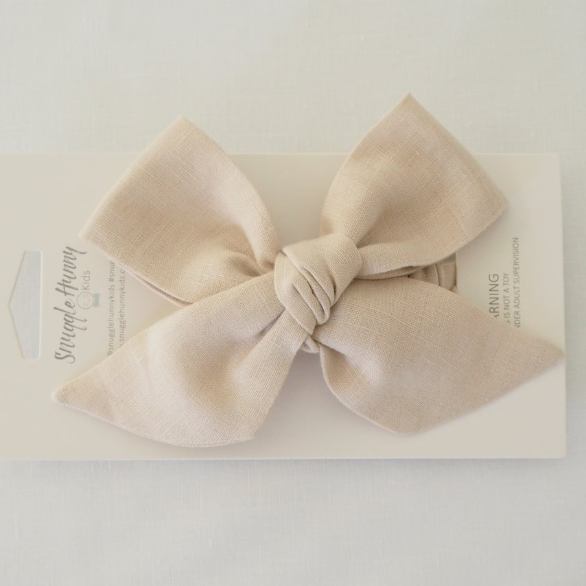 Natural Linen Pre Tied Bow Headband Wrap - Petit Luxe Bebe