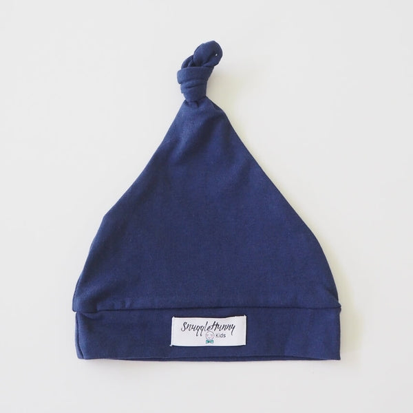 Navy Knotted Baby Beanie