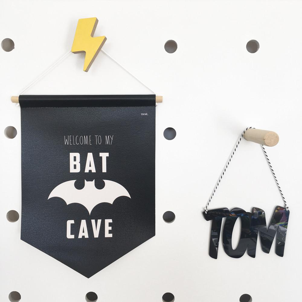 Personalised Bat Cave Canvas Banner | Nursery Wall Art - Petit Luxe Bebe