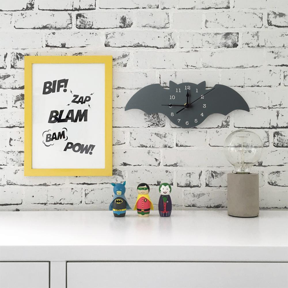 Nursery Wall Clocks - Bat, Superhero theme - Petit Luxe Bebe