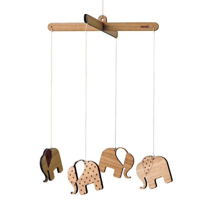 Elephants Bamboo Nursery Mobile