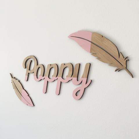Bamboo Feathers Nursery Art Accessory | Wall Decor - Petit Luxe Bebe