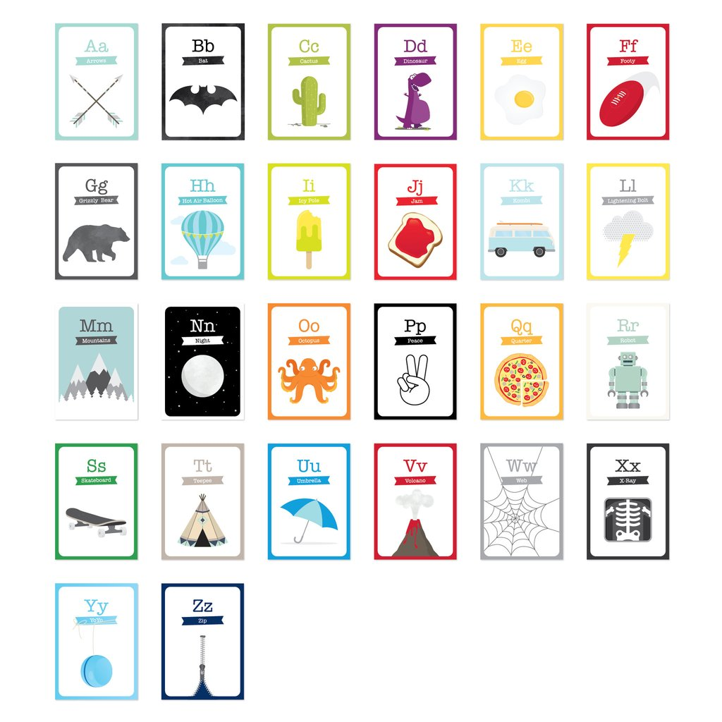 Alphabet Flash Cards - Arrows, Robots & Volcanoes - Petit Luxe Bebe