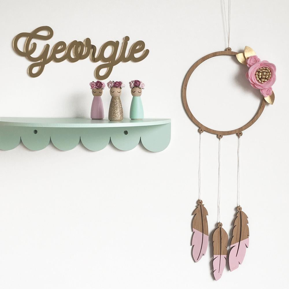 Custom Floral Dream Catcher Mobile - Petit Luxe Bebe