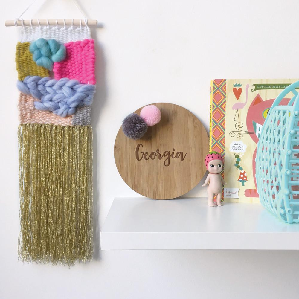 Custom Round Name Plaque With Pom Poms - Petit Luxe Bebe