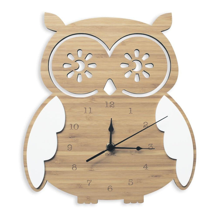 Nursery Wall Clocks - Bamboo Owl