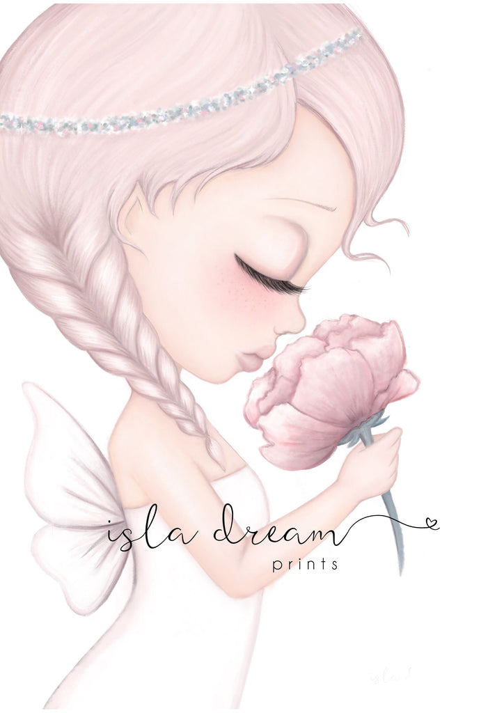 CRYSTA The Petal Fairy (Pink) - Whimsical Art Print - Petit Luxe Bebe