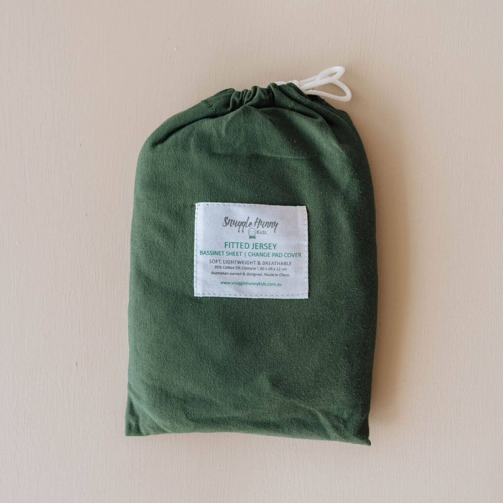 Fitted Bassinet Sheet | Change Pad Cover - Olive - Petit Luxe Bebe
