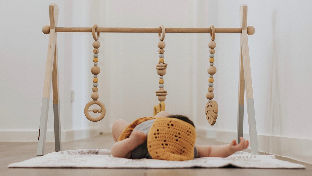 Deluxe Painted Beechwood Baby Play Gym Package - SINGLE Frame + Toys - Petit Luxe Bebe