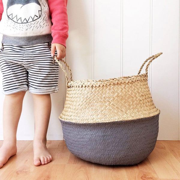 Large Painted Seagrass Basket - Grey