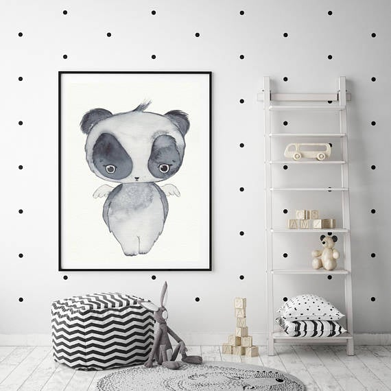 Nursery Decor Watercolour Wall Art Print - Little Panda - Petit Luxe Bebe